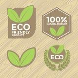 Conjunto de escritura de la etiqueta cómodo de Eco Imagen de archivo