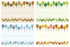 Conjunto de escritura de la etiqueta de los árboles Fotografía de archivo libre de regalías