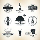 Conjunto de escritura de la etiqueta para el restaurante Foto de archivo