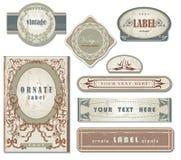 Conjunto de escrituras de la etiqueta adornadas de la vendimia Imagen de archivo