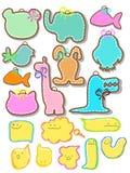 Conjunto de escrituras de la etiqueta animales hermosas Imagen de archivo