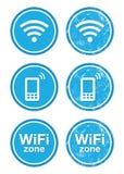 Conjunto de escrituras de la etiqueta azul de la vendimia de la zona del Internet de Wifi Imagen de archivo libre de regalías