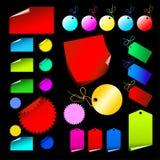 Conjunto de escrituras de la etiqueta coloreadas Foto de archivo libre de regalías