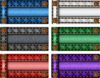 Conjunto de escrituras de la etiqueta coloridas de los pantalones vaqueros Foto de archivo libre de regalías