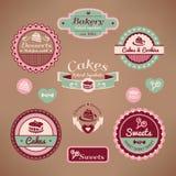 Conjunto de escrituras de la etiqueta de la panadería de la vendimia Foto de archivo libre de regalías