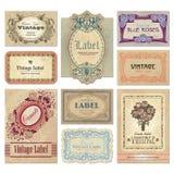 Conjunto de escrituras de la etiqueta de la vendimia () Imagenes de archivo