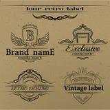 Conjunto de escrituras de la etiqueta de la vendimia Imagen de archivo libre de regalías