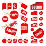 Conjunto de escrituras de la etiqueta de la venta