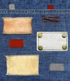 Conjunto de escrituras de la etiqueta de los pantalones vaqueros Imagen de archivo