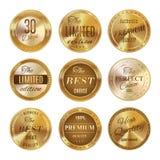 Conjunto de escrituras de la etiqueta de oro Fotos de archivo