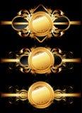 Conjunto de escrituras de la etiqueta de oro ornamentales Imágenes de archivo libres de regalías