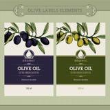 Conjunto de escrituras de la etiqueta del aceite de oliva Imagen de archivo