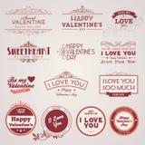 Conjunto de escrituras de la etiqueta del día de tarjeta del día de San Valentín de la vendimia Foto de archivo