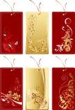 Conjunto de escrituras de la etiqueta del rojo y del oro Stock de ilustración