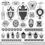 Conjunto de escrituras de la etiqueta del vino negro aislado colección en blanco Imagen de archivo