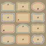Conjunto de escrituras de la etiqueta en blanco de la vendimia () Imagen de archivo