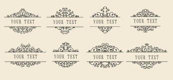 Conjunto de escrituras de la etiqueta ornamentales Fotografía de archivo