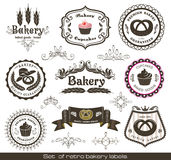Conjunto de escrituras de la etiqueta retras de la panadería de la vendimia stock de ilustración