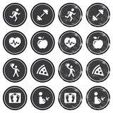 Conjunto de escrituras de la etiqueta retro de los iconos de la salud y de la aptitud Foto de archivo libre de regalías