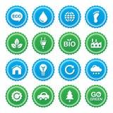 Conjunto de escrituras de la etiqueta verde de Eco - ecología, recyling, powe del eco Fotografía de archivo