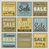 Conjunto de escrituras de la etiqueta y de banderas de la oferta de la venta especial Imágenes de archivo libres de regalías