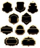 Conjunto de escrituras de la etiqueta y de bastidores de oro Imagen de archivo