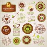 Conjunto de escrituras de la etiqueta y de elementos del alimento biológico ilustración del vector