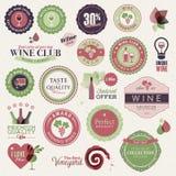 Conjunto de escrituras de la etiqueta y de elementos para el vino Fotos de archivo libres de regalías