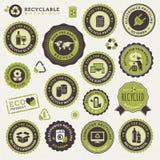 Conjunto de escrituras de la etiqueta y de etiquetas engomadas para reciclar Fotografía de archivo libre de regalías