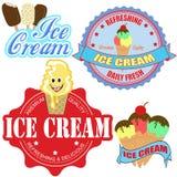 Conjunto de escrituras de la etiqueta y de iconos del helado Imágenes de archivo libres de regalías