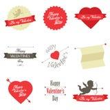 Conjunto de escrituras de la etiqueta y de insignias del día de tarjetas del día de San Valentín Imagen de archivo