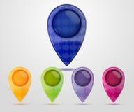 Conjunto de etiquetas de plástico coloridas de la correspondencia Imagenes de archivo