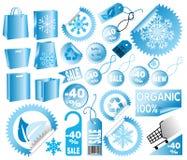 Conjunto de etiquetas del invierno de la venta del vector Fotos de archivo libres de regalías