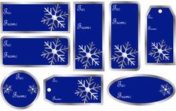 Conjunto de etiquetas del regalo de la Navidad en azul Fotos de archivo
