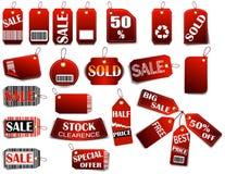 Conjunto de etiquetas del rojo del precio Fotografía de archivo libre de regalías