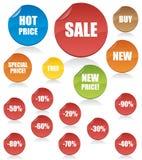 Conjunto de etiquetas del vector de las compras Stock de ilustración