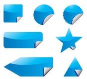 Conjunto de etiquetas engomadas azules Imagen de archivo libre de regalías
