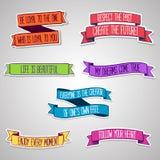 Conjunto de etiquetas engomadas coloreadas Cintas con la motivación libre illustration