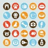 Conjunto de etiquetas engomadas con los iconos del animal doméstico Fotos de archivo libres de regalías