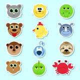 Conjunto de etiquetas engomadas Conjunto de animales lindos de la historieta Sistema 3 Stock de ilustración
