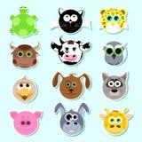 Conjunto de etiquetas engomadas Conjunto de animales lindos de la historieta Sistema 1 Libre Illustration