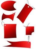 Conjunto de etiquetas engomadas, de etiquetas, de botones y de iconos rojos de la venta Fotografía de archivo libre de regalías
