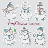 Conjunto de etiquetas engomadas de la Navidad Foto de archivo
