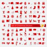 Conjunto de etiquetas engomadas de la Navidad Fotografía de archivo