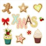 Conjunto de etiquetas engomadas de la Navidad Imagen de archivo