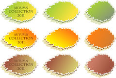 Conjunto de etiquetas engomadas del otoño Imagen de archivo