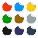 Conjunto de etiquetas engomadas en blanco Escrituras de la etiqueta promocionales Ilustración del vector Fotos de archivo