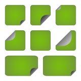 Conjunto de etiquetas engomadas o de escrituras de la etiqueta verdes Foto de archivo libre de regalías