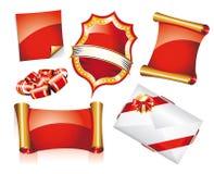 Conjunto de etiquetas engomadas o de iconos de la Navidad Fotografía de archivo