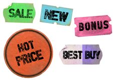Conjunto de etiquetas engomadas promocionales sucias fotografía de archivo libre de regalías